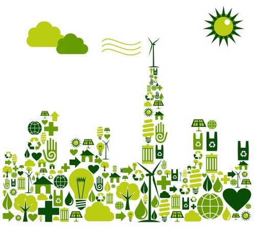 Green City silhouette with environmental icons